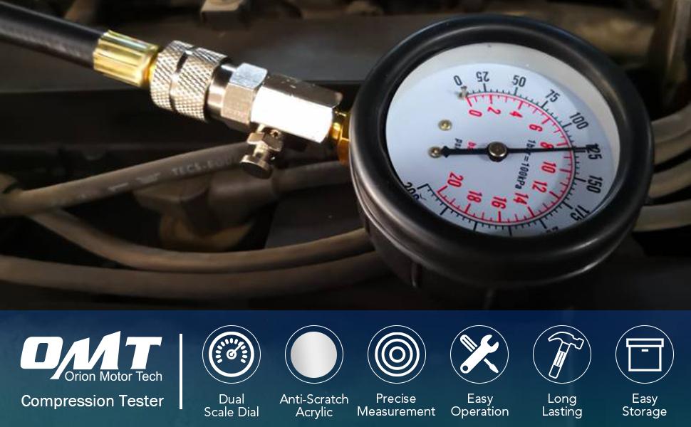 Medidor de Presi/óN de Aceite,Probador de Motor Kit de Prueba de Compresi/óN de Cilindro Motor Medidor de Presi/óN de Aceite de Autom/óVil con 2 Extremos de Conos de Goma