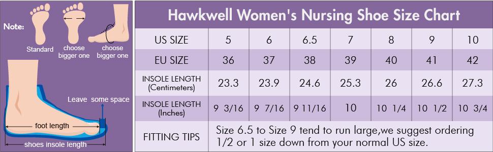 Hawkwell Women's Slip Resistant Nursing Shoes Size Chart
