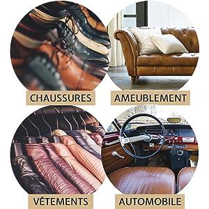 Pour chaussures, canapé, maroquinerie, sièges voiture