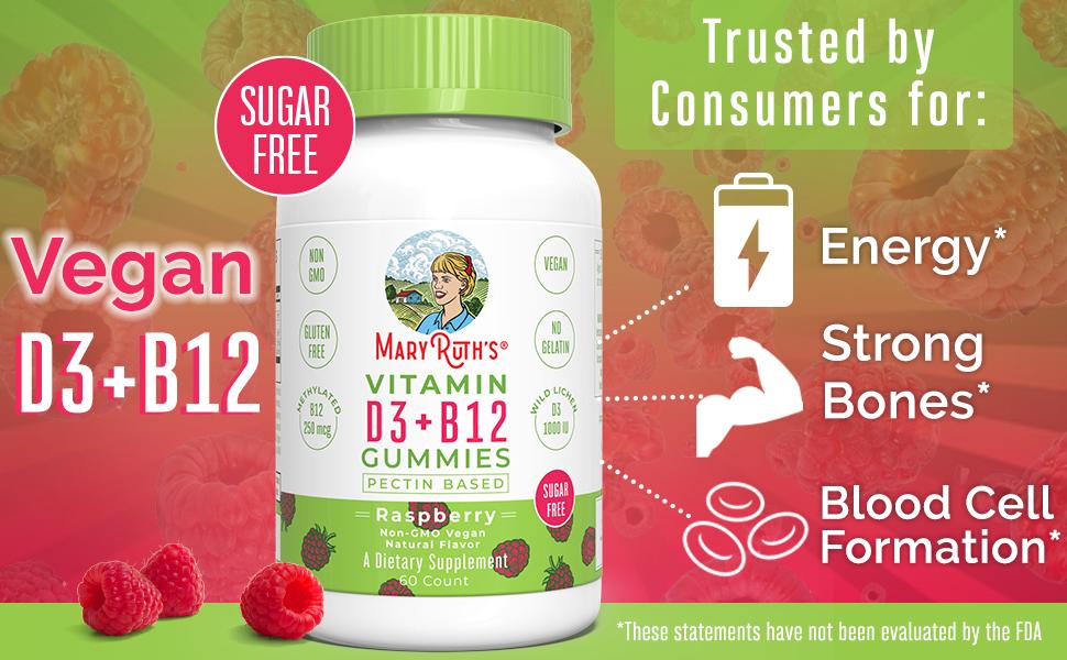 Vitamin D3 Vegan B12 methylcobalamin organic lichen plant based women gummy boost non-gmo