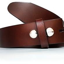 Cinturón hombre y mujer sin hebilla - Hebillas intercambiables - 3,5 cm y 4 cm - Piel legitima Cuero