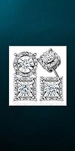 diamond stud earrings white gold princess cut studs sterling silver women men natalia drake jewelry