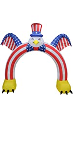 9 Foot Tall Patriotic Independence Day 4th of July Inflatable Flying Bald Eagle with Hat USA Flag