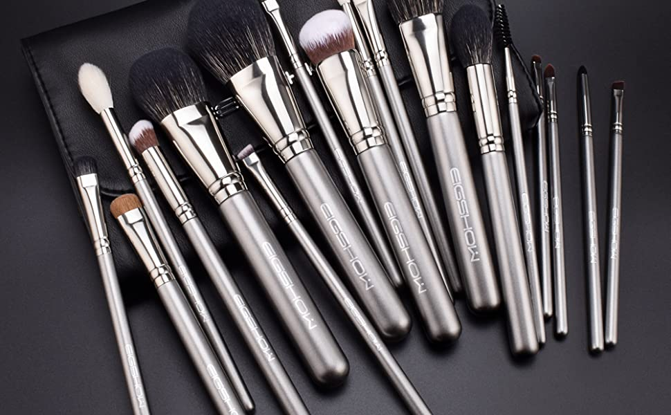 10 pcs Essential Soft Synthetic Face and Eyeshadow Brushes in Pink RoseGold with Bag