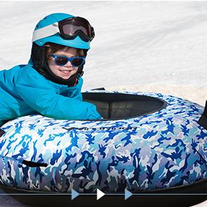 Durable Cordura Top High Speed Sledding Tubing Pull Strap Hard Plastic Bottom WindRider Snow Tube