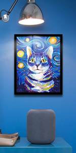 Starry Sky amp; Cat Paint by Numbers kit Canvas Painting for Adults