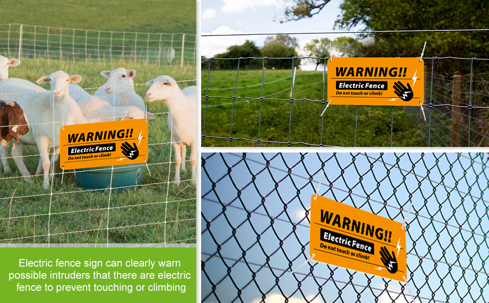 Magicfour Electric Fence Signs 4 Pack Electric Fence Warning Signs 4/'/' x 8/'/' Pl