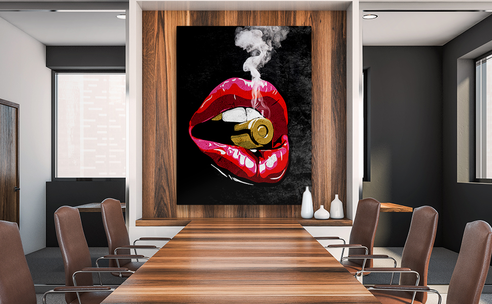 Schminke Deko Dekoration Wohnung modern M0160 Lippenstift blutige Lippen Gr/ö/ße 40x30cm Wandbilder Gesicht Glanz wandmotiv24 Leinwand-Bild Frauen Lippen blass Querformat Frau Vampir