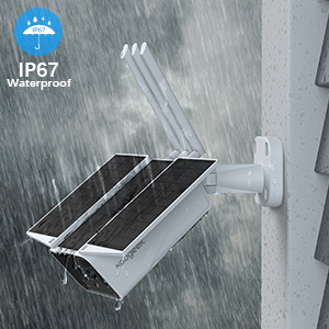 IP67 waterproof  【2020 Upgrated】 Wireless Outdoor Security Camera, WiFi 1080P Solar Security Camera 10400mAh Rechargeable Battery, PIR Motion Detection, Night Vision, 2-Way Audio, 3 Antenna, IP67 Waterproof, Cloud SD 987b2223 abe5 4dce 86ee e1a3cdbc1ede