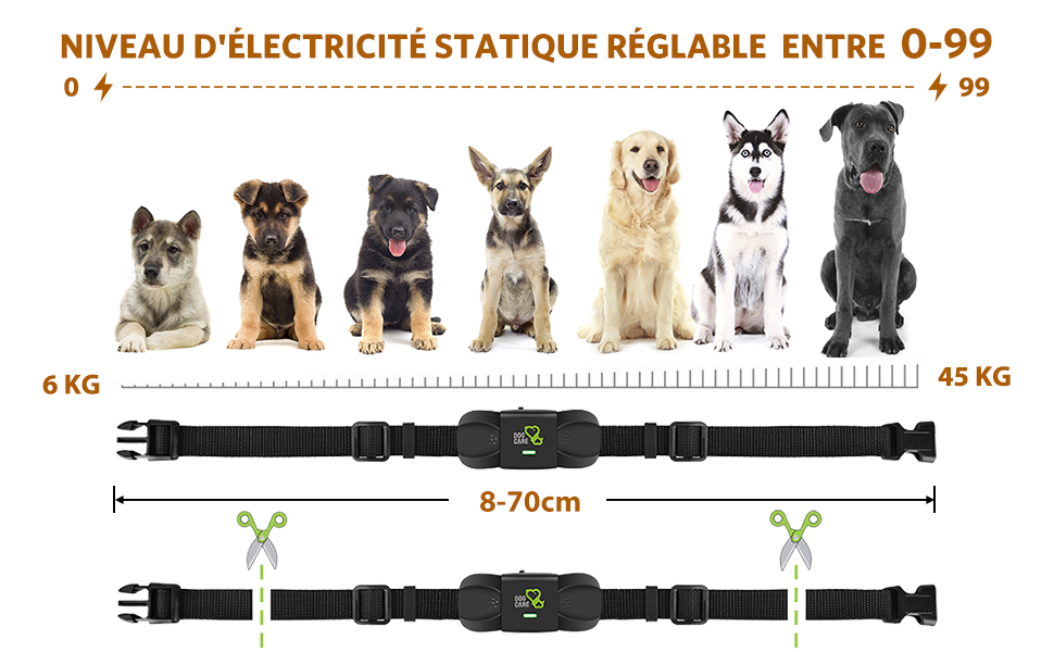 niveau d'electricite statique reglable entre 0-99