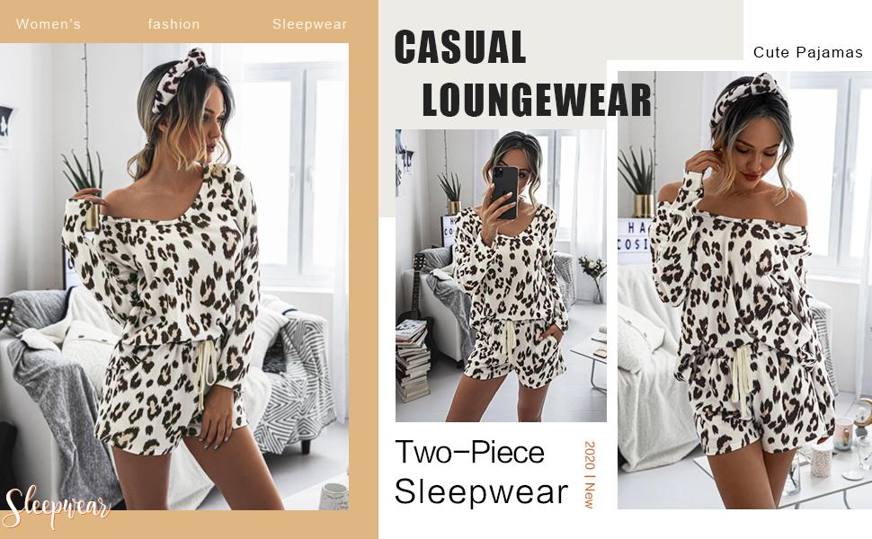 Leopard cheetah Animal print lounge sets for women long sleeve v neck shirts tops shorts set summer