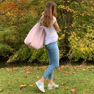 Leinentasche groß Freizeit Park Urlaub Geschenk qualitativ hochwertig Umhängtasche Stoff pink rosa