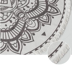 Round Area Rug,Hand Woven Cream Chic Bohemian Mandala Print Tassels Door Mat