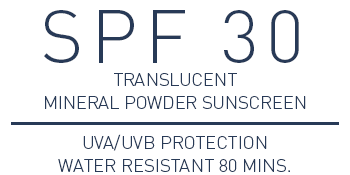 SPF 30 translucent mineral powder sunscreen UVA/UVB Protection Water Resistant 80 mins