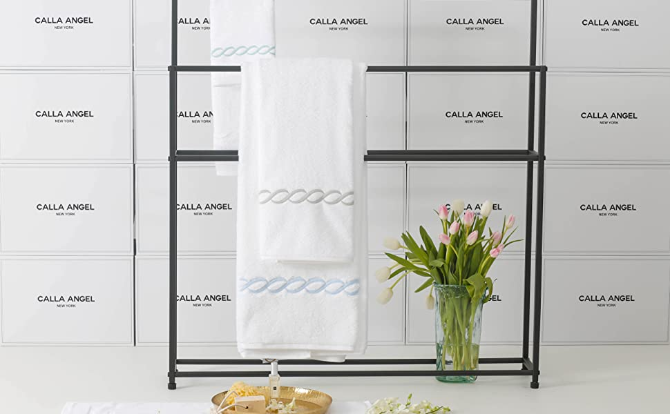 calla angel luxe chain egyptian cotton towel wall