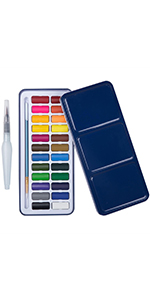 Watercolour Paint 24-Colour with Water Brush Pen Blue Tin Exterior