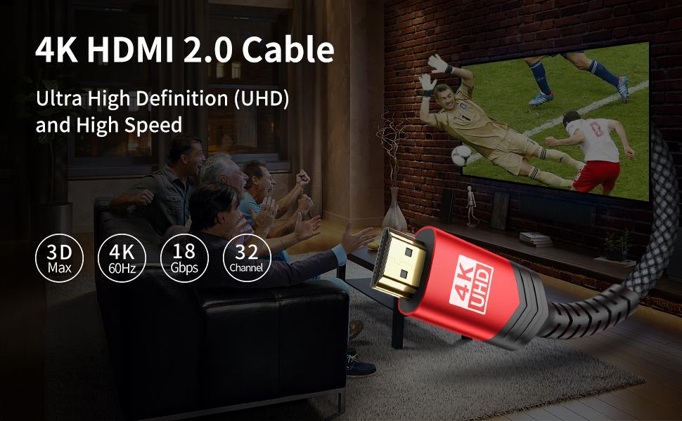 JSAUX 4K@60HZ HDMI 2.0 Cable