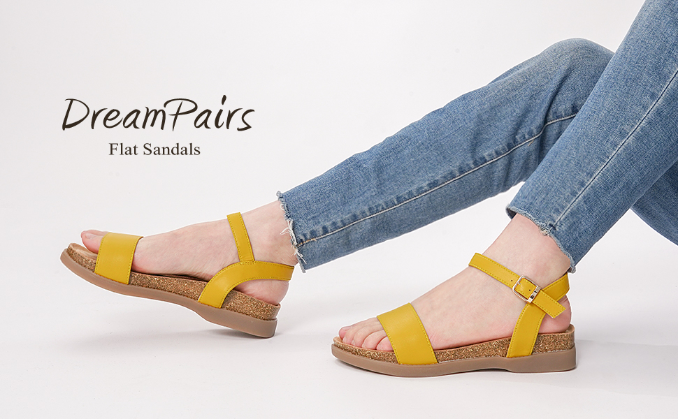 DREAM PAIRS Women's Soft Footbed Ankle Strap Flat Sandals