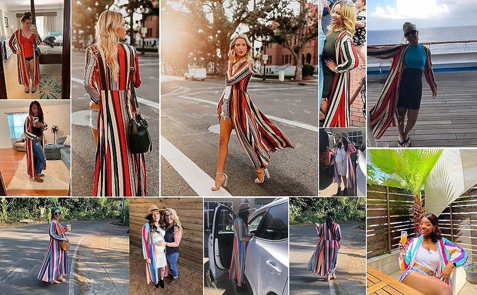 Long Striped rainbow Print Chiffon Kimono