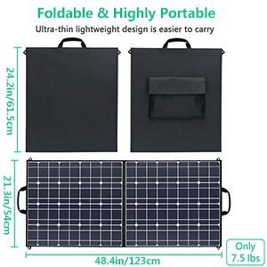 TWELSEAVAN 100W Solar Panel Foldable Portable Solar Charger for Jackery Explorer 160/240/500 Power Station/Suaoki/Goal Zero Yeti/Rockpals/Kyng Power ...