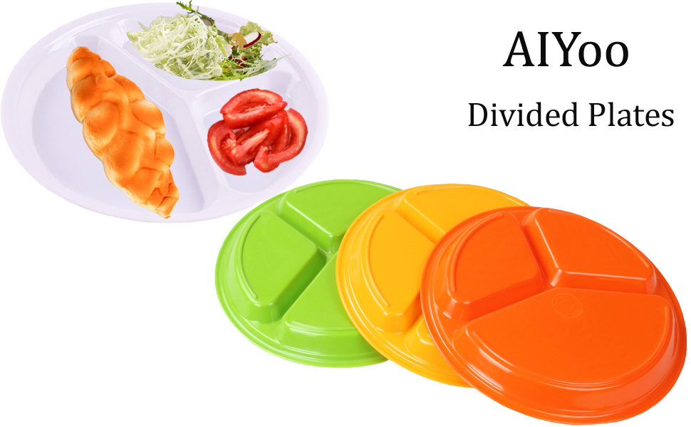 Amazon.com | AIYoo Reusable Dinner Plates, 4 Pack BPA Free ...