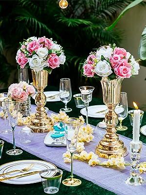 2 Piezas Flor Artificiales, 15 Cabezas Rosas Plástico con Base ...