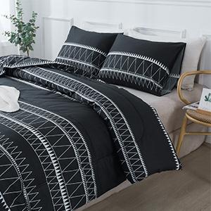Striped black comforter sets