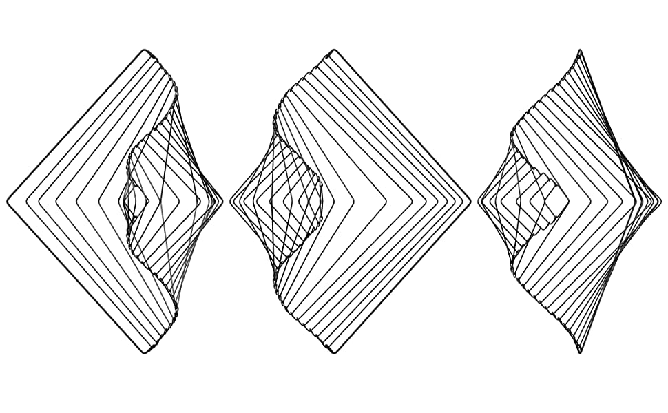 Square Wave Ivan Black Kinetic Wind Spinner Calming Mesmerizing Satisfying Art Piece Bronze Eclipse