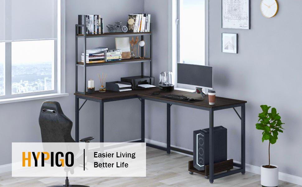 l shaped computer desk with shelves