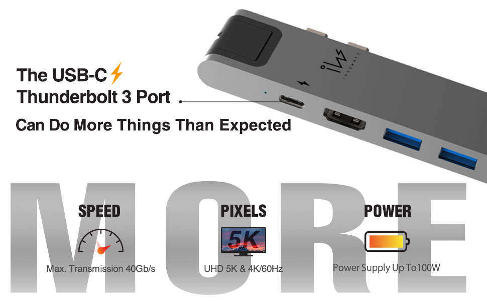 USB-C port by thunderbolt 3 for 4K or 5K devices and fast charging to PD, files and documents