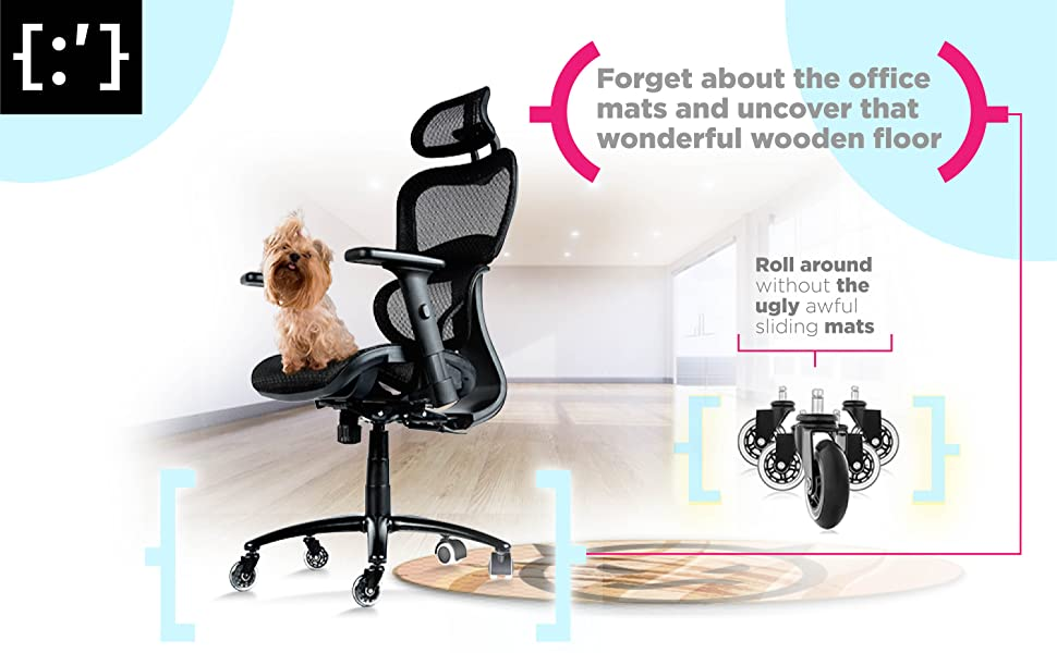 ObjectChair office chair wheels casters replacement rollerblade pet fur floor mat protection gaming