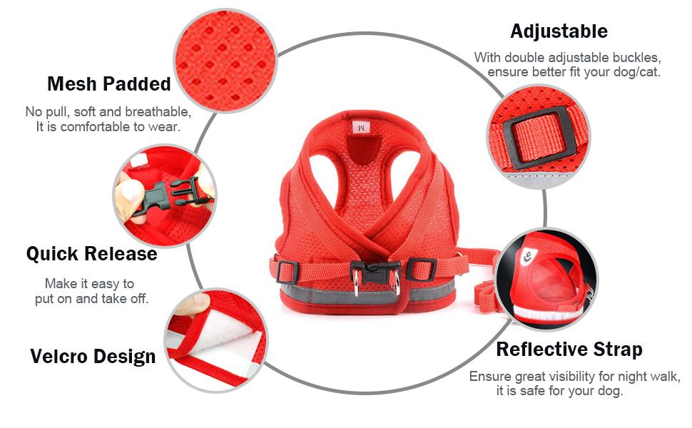 soft mesh harness no pull adjustable reflective dog harness
