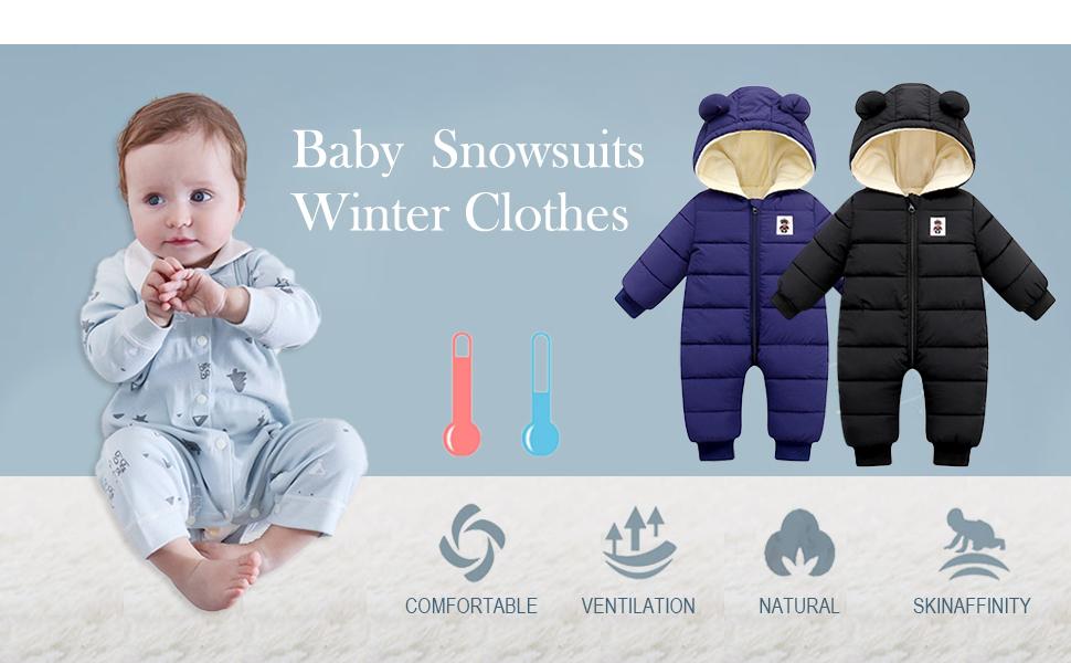 XMWEALTHY Baby Snowsuit for Infant Winter Jacket Boys Girls Suit Coat Outerwear Jumpsuit