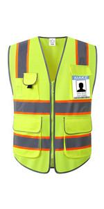 8 pockets vest with orange trim
