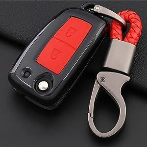 Ontto Klapp 3 Tasten Autoschlüssel Hülle Cover Für Nissan X Trail Juke F15 Qashqai J11 Rogue Pulsar Plastik Schlüsselhülle Schlüsselanhänger Schlüssel Schutz Etui Fernbedienung Kohlefaser Schwarz Auto