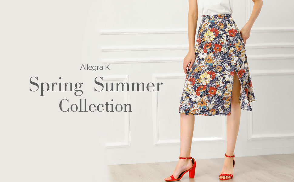 Allegra K Women's High Waist Slit Hem A-Line Floral Skirt