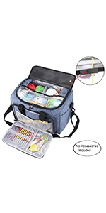 bis zu 30,5 cm graue Punkte YARWO Aufbewahrungstasche f/ür Stickereiprojekte mit mehreren Taschen f/ür Stickrahmen Stickgarn und Zubeh/ör nur Tasche