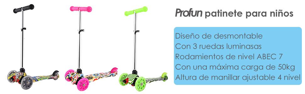 Profun Patinete 3 Ruedas Patinete Niño Scooter con 3 Ruedas Flash Patinete Niña con Luces Altura de Manillar Ajustable de 54CM a 69CM Ideal para Niños ...