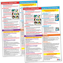 Child amp; Infant CPR Poster - Choking Poster - Poison and Burns First Aid Poster - 2 Pack