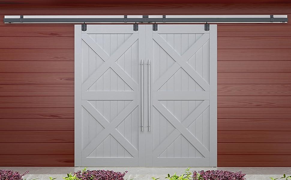 Double Sliding Barn Door Hardware Box Track Wall Mount Kit For Exterior Door Ebay