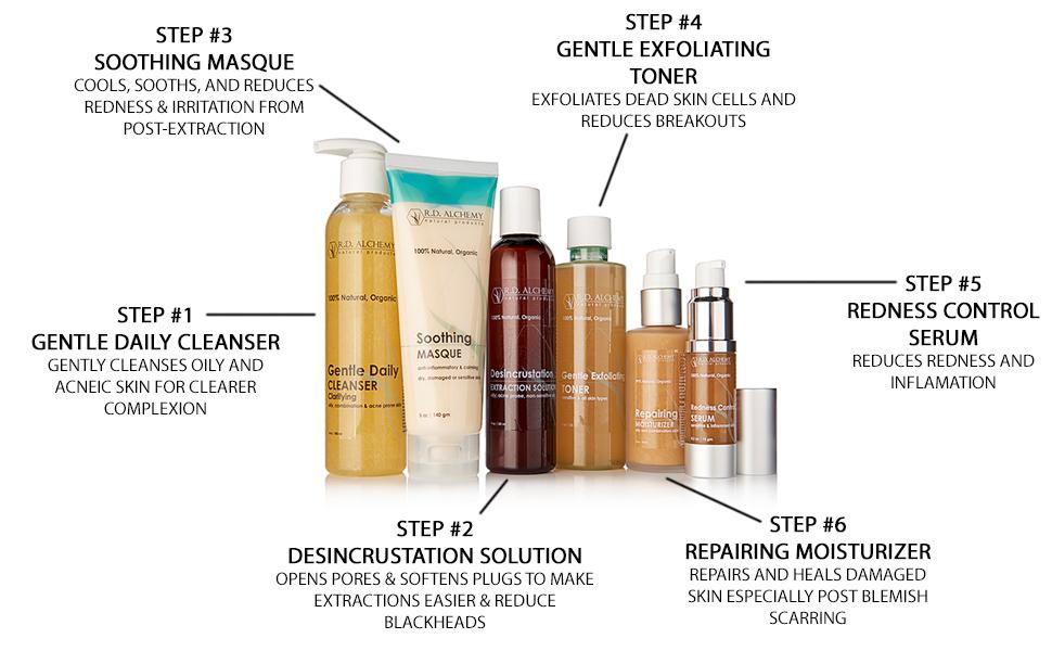 gentle daily cleanser, soothing masque gentle exfoliating toner rosacea serum repairing moisturizer