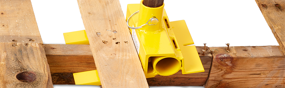 Pallet Buster Deluxe Con Eliminación De Uñas Deck Wrecker Mejor Barra De Demolición Para Palets Cabeza De Acero 2 Pasadores De Bloqueo Seguros Amarillo Molomax Home Improvement