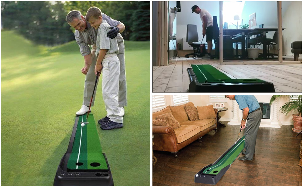 golf putting green with ball return system and 3 balls