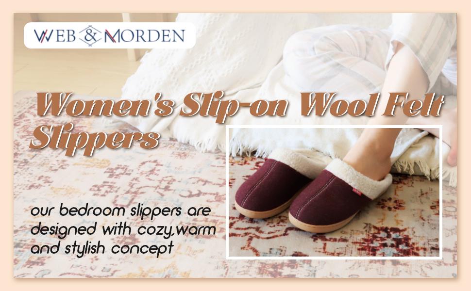 Women's Slip-on Wool Felt Slippers