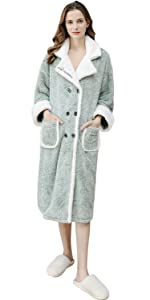 Unsex Mens Womens Dressing Gown Full Length Hooded Bathrobe Robe Housecoat Nightwear Sleepwear