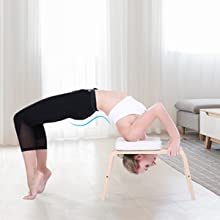 MaxKare Yoga Headstand Bench Wood Stand Yoga Inversion Chair Stool Handstand with PVC Pads for Family, Gym - Relieve Fatigue and Shape The Body