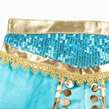 Exotic blue sequins, gold on waist belt