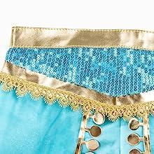 Exotic blue sequins, gold on waist belt