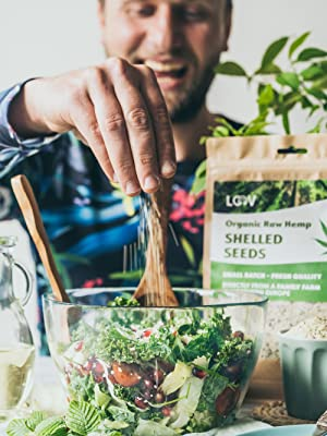 Semillas de Cáñamo Orgánico sin Cáscara LOOV, corazones de cáñamo, 1kg, sin tratamiento térmico, conserva los nutrientes, sabor a nuez, cultivado en ...