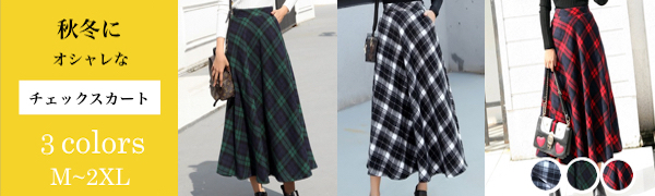 Plaid Skirt, Plaid Pattern, Houndstooth Pattern, Allover Pattern, Red, Green, White, Black, Mid-Calf Length, Below Knee, Knit, Autumn, Winter, Autumn and Winter, Women's